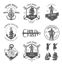 Set of vintage nautical vector
