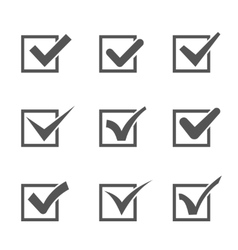 Set of different check marks in boxes vector
