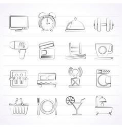 Hotel and motel facilities icons vector