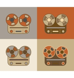 Retro reel to reel tape recorder icon vector