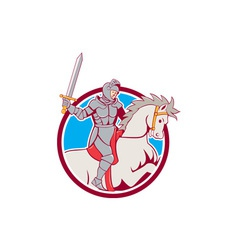 Knight riding horse sword circle cartoon vector