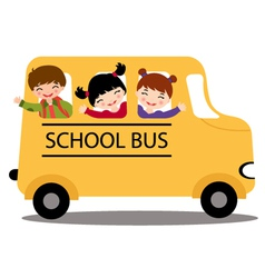 Kids in school bus vector