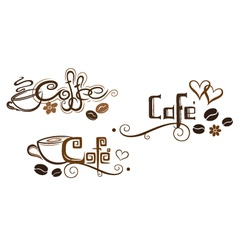 Coffee cafe flower hearts vector