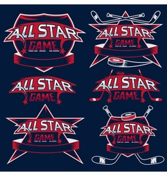 Set of vintage sports all star crests with hockey vector