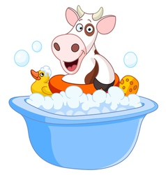 Cow taking a bath vector