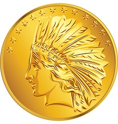 American money gold coin dollar vector