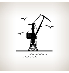 Silhouette cargo crane on a light background vector