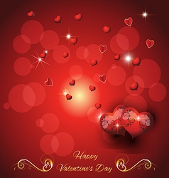 Greeting card with two hearts valentines day vector