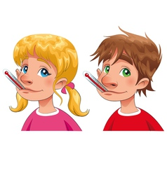 Boy and girl with thermometer vector