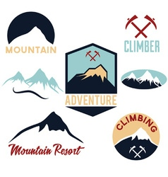 Set of mountains and climbing icons vector