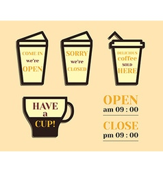 Coffee signs open and closed elements fathers day vector