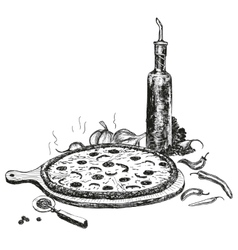 Pizza with bottle of garlic oil vector
