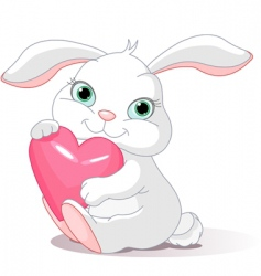 Rabbit holds love heart vector
