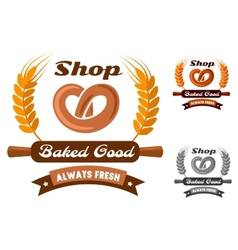 Bakery shop emblem or logo with pretzel vector