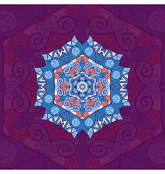 Blue mandala oriental design over violet vector