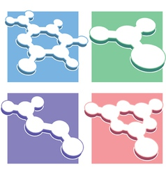Set of molecule icons - chimestry bullets vector