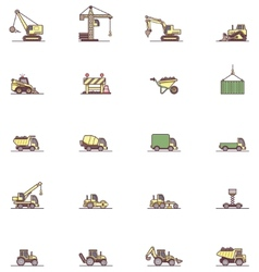 Construction machinery icon set vector