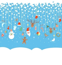 Blue snowy background with christmas garland vector