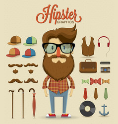 Hipster character design with hipster elements vector