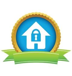 Gold lock house logo vector