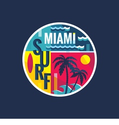 Surf - miami - concept vector