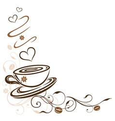 Coffee cafe floral hearts tendril vector