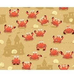Seamless pattern with crabs and sand castles vector