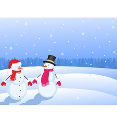 Snowmans in winter landscape vector