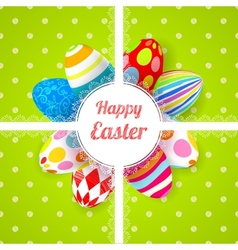 Easter green background card with ornament eggs vector