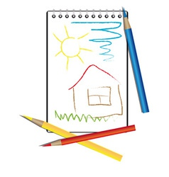 Childrens drawing and pencils vector