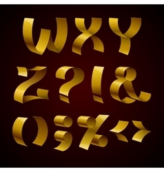 Set of isolated golden shiny ribbon font w-z vector