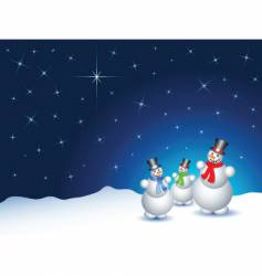 Snowmen on a snowy night vector