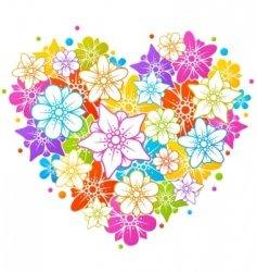 Colorful floral heart vector
