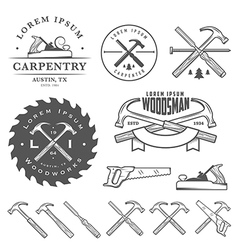Set of vintage carpentry design elements vector