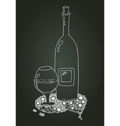 Wine bottle and glass with doodle chalk sketch vector