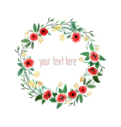 Watercolor wreath with flowers vector