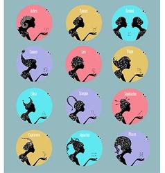 Zodiac signs in a circle frames set vector