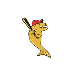 Trout fish baseball player batting cartoon vector