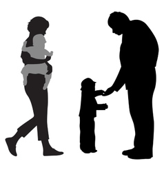 Family with two children silhouette vector