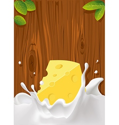 Splash of milk with cheese wood texture for vector