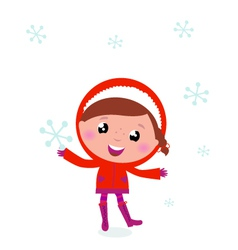 First snow - cute winter child holding snowflake vector
