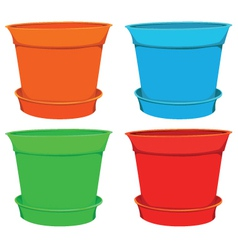 Color garden pots set vector