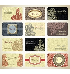 Vintage ornamental business card collection vector