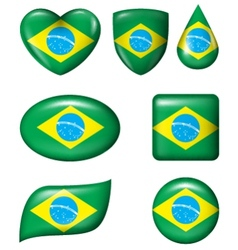 Brazilian flag in various shape glossy button vector