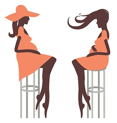 Fashionable pregnancy two young woman vector