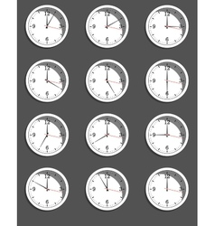 Clocks showing different time vector