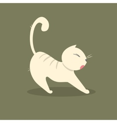 Funny fat cat stretches vector