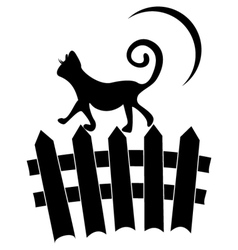 Cat on fence vector