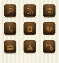 Wooden realistic icons vector