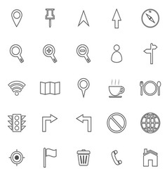 Map line icons on white background vector